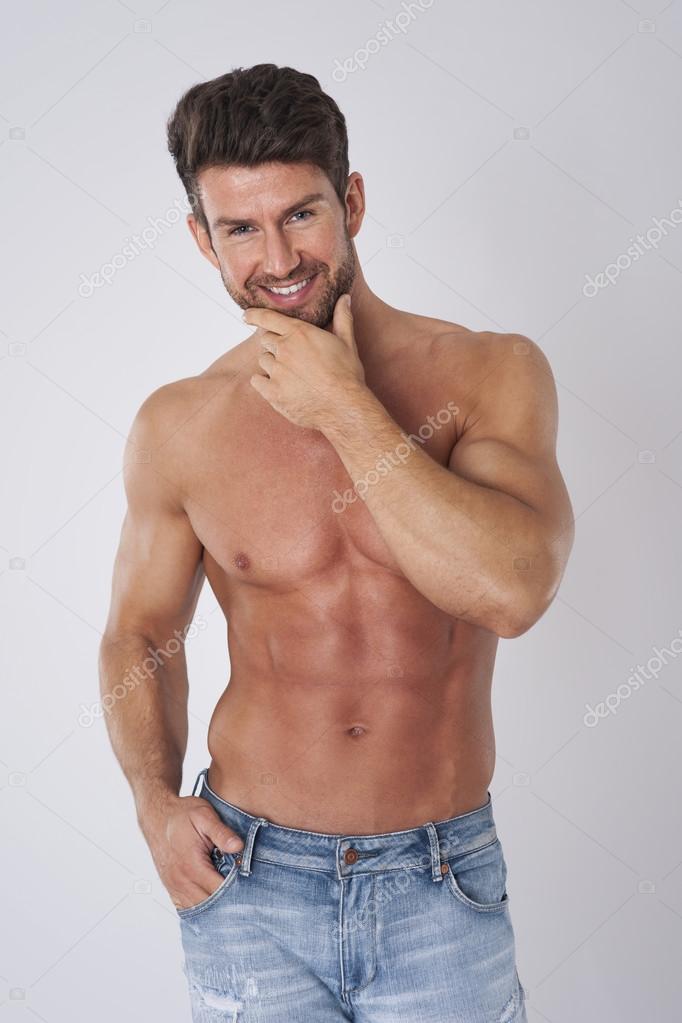 hombre atractivo sin camisa foto de stock gpointstudio