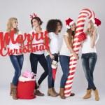 Teenage girls during the Christmas — Stock Photo #59081845