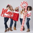 Teenage girls during the Christmas — Stock Photo #59082163