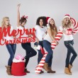 Teenage girls during the Christmas — Stock Photo #59082167