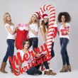 Teenage girls during the Christmas — Stock Photo #59082455