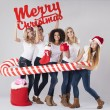 Teenage girls during the Christmas — Stock Photo #59083359