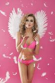 Sexy angel in pink underwear — Stock Photo