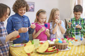 Children painting eggs — Stock Photo