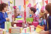 Children at the birthday party — Stock Photo