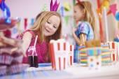 Girls at birthday party — Stock Photo