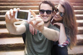 Couple in love taking selfie — Foto de Stock