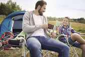 Father and son camping — Stock Photo