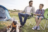Father with son camping — Stock Photo