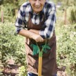 Senior man working with plants — Stock Photo #79930256