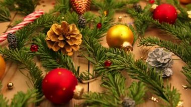 Spruce Branches and Decoration and Gifts — Stock Video