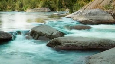 Rapids on the Evening River. Time Lapse — Stock Video
