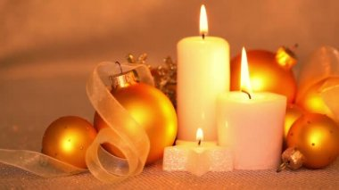 Christmas Balls and Candles. It's Getting Dark — Wideo stockowe