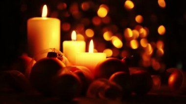 Christmas Candles on a Dark Background — Stock Video