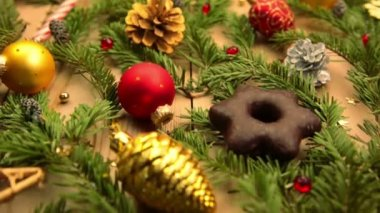 Still Life with Decorations and Christmas Gifts — Stock Video
