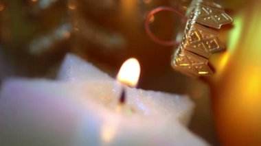 Xmas Ball and Candle. Macro. Seamless Loop — Stock Video