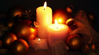 Christmas Decorations and Candles — Stock Video