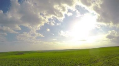 Sun and Clouds over Fields. Timelapse — Stock Video