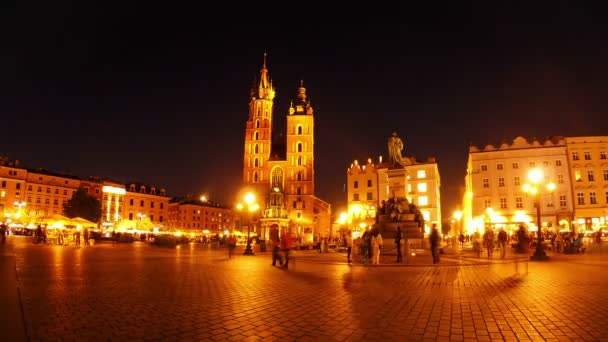 Market Square of Krakow at Night. Timelapse — Vidéo