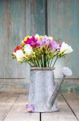 Colorful freesia flowers in silver watering can — Stock Photo