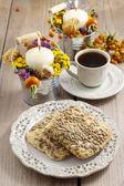 Flapjack cookies, autumn setting — Stock Photo