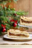 Apple pie in christmas setting. Cake on wooden table,  — Stock Photo