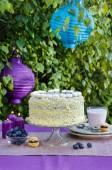 Birthday cake on the table. Garden party — Stock Photo