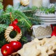 Homemade cookies in star shape on wooden table in christmas eve  — Stock Photo #60131111