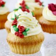 Wedding reception cupcakes decorated with sugarcraft red roses — Stock Photo #60131187