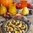Tart with peach, pumpkin, plum, pear and blueberry in autumn set — Stock Photo #60183567