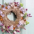 Autumn door wreath on wooden background — Stock Photo #60185759