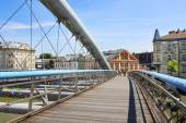 Footbridge above Wisla river Krakow, Poland — Stock fotografie