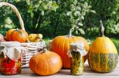 Pumpkins and pickled vegetables in preserving glass  — Foto Stock