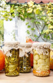Pumpkins and colorful pickled vegetables in preserving glass — Stock Photo