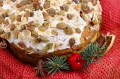 Panettone wrapped as a christmas gift — Stock Photo