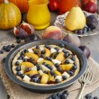 Tart with peach, pumpkin, plum, pear and blueberry — Stock Photo #60243907