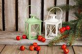 Two lanterns on wooden table — Stockfoto