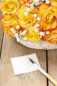 Bouquet of orange roses, copy space — Stock Photo