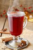 Mulled wine - a beverage made with red wine — Stock Photo