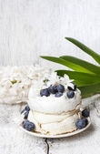 Pavlova cake in winter style — Stock Photo