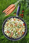Healthy living - fried cabbage in frying pan on green grass — Stock Photo