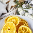 Dried oranges - decoration on a christmas table — Stock Photo #60506717