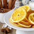 Dried oranges - decoration on a christmas table — Stock Photo #60506783