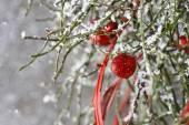 Christmas background: red balls, christmas tree, snow — Stock Photo