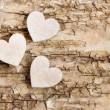 Wooden heart on bark background. Symbol of love — Stock Photo #61103739