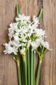 White narcissus flowers on wooden background — Stock Photo