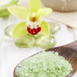 Spa set: zen stones and bowl of sea salt — Stock Photo #74608321