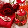 Spa set: scented candle, sea salt, liquid soap and romantic red — Stock Photo #74608783