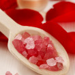 Spa set: scented candle, sea salt, liquid soap and romantic red — Stock Photo #74608791