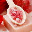 Spa set: scented candle, sea salt, liquid soap and romantic red — Stock Photo #74608793